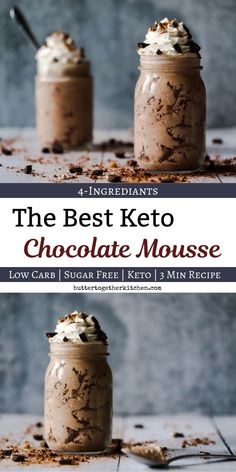 Diet Recipes Creamy Keto/Low Carb Chocolate Mousse - This mousse is creamy and delicious with only 4 ingrediants! This has been a keto favorite to thousands! Make it in less than 5 minutes and discover your new favorite keto dessert! Pudding Desserts, Keto Pudding, Desserts Keto, Dessert Recipes, Holiday Desserts, 5 Minute Desserts, Keto Snacks, Cheesecake Recipes, Keto Dessert Easy