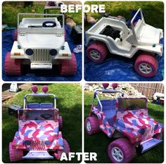 Power wheels makeover! An old Power Wheels Barbie Jeep turned AWESOME! I hand painted and restored an old Barbie jeep into an awesome #pink #camo #jeep ! I love pimping out old outdoor toys :) #diy #BarbieJeep #customtoys #powerwheelsmakeover #jeep #power #littlegoobersparty