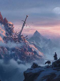 "fantasyartwatch: "" Fallen Titan by Jinho Bae "" This is going into my homebrew world… somewhere."