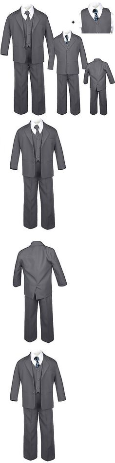 Baby Toddler Teen Formal Dark Grey Tuxedo 6pc Set Boys Suits Dot Necktie sz S-20
