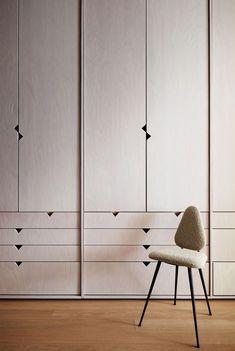 a wall of light-colored wood closets and a small chair Bedroom Closet Design, Bedroom Wardrobe, Wardrobe Design, Closet Designs, Wardrobe Closet, Wall Of Light, Ny Loft, Loft Studio, Muebles Living