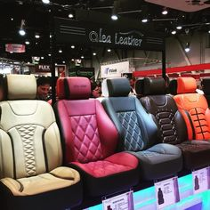 booth at SEMA is unreal! Such amazing seat patterns and designs. Car Seat Upholstery, Car Interior Upholstery, Automotive Upholstery, Custom Car Interior, Car Interior Design, Truck Interior, Garniture Automobile, Leather Car Seat Covers, Car Furniture