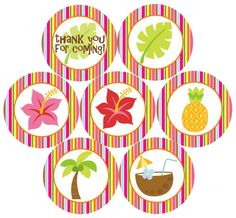Hawaiian Luau Party  25 Cupcake Toppers / Favor by CitrusPaperCo, $3.00