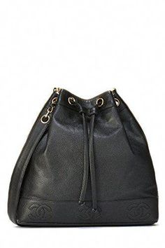 3cb0136dc6cc What Goes Around Comes Around Black Caviar Bucket Bag - Chanel