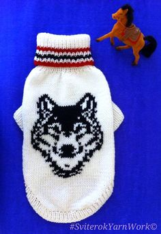 Knit Pattern Sweater For Big Dog. Indian Totem. Pattern Wolf. Wolf Portrait Sweater. Big Dog Clothes. Wolf Picture Sweater For Dog. Size 3XL SIZE: 1 inch = 2,54cm Back lenghts- 50cm (19,6 inch) Chest - 66cm (25,9 inch) maximum Neck - 44cm (17,3inch) maximum The original new