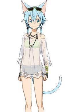 Lolis Neko, Anime Girl Neko, Anime Art Girl, Sword Art Online Cosplay, Sword Art Online Kirito, Cosplay Sword, Wallpaper Animes, Animes Wallpapers, Sinon Ggo