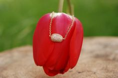 Patterned Bean with Zirconia Necklace