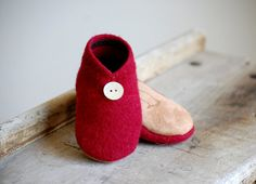 Wool Baby Shoes, Eco Friendly Slippers, size 0-12, 6-18, 12-24 months, Be Mine. $34.00, via Etsy.