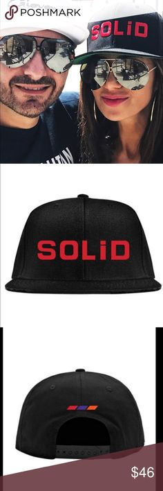 SOLID Hat Cap LuxuryWheels Snapback 🛎MENS(orWom) 🛎MENS (or Women's) ⭐️SOLID (LuxuryWheels) BLACK Premium Snapback Hat / Cap 🎈Auth, new, never worn. SOLID Logo in red on the front & accent embroidery on the back above the snap closure. Generously osfa sized. superb quality hat LISTING IS FOR ONE HAT. NO ☀️OTHER ITEMS IN PICS ARE AVAIL. (Not selling rims lol)As seen above on /as worn by Miss Peggy RHOC lol @ma😘)🌟SOLID wheels are from the Giovanna Family/Luxury Wheels,SantaFe Ca ❤️this hat…