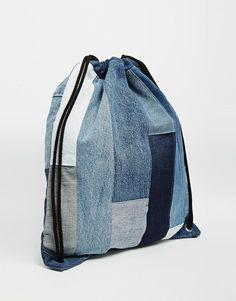 Immagine 2 di Milk It - Zaino di jeans patchwork con cordoncini