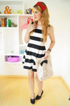 Parisian Chic outfit with a Forever21 striped dress