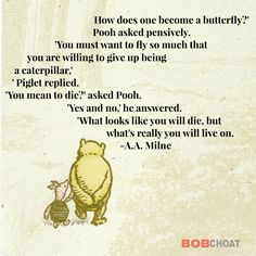 What you believe about yourself and what you're willing to let go of will allow you to soar in your life. #life #butterfly #mindset #soaring #transformation #attitude #growth #aamilne #winniethepooh #piglet #pooh #quotes #success