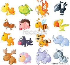 Collection of cute cartoon animals vector