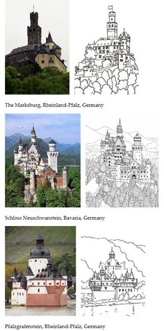 Printable Castle coloring pages. Print for the kids to color while you travel to these castles! Castles from Ireland, England, Wales, and Germany. •••••  The 3 castles above are: The Marksburg, Rheinland-Pfalz, Germany ••••• Schloss Neuschwanstein, Bavaria, Germany ••••• Pfalzgrafenstein, Rheinland-Pfalz, Germany