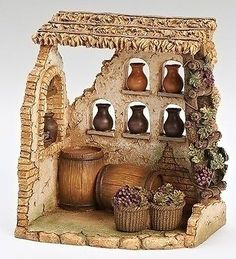 This item has been retired but each year, Fontanini introduces new nativity pieces. Visit us for the latest Fontanini village buildings, villagers and accessories. Vitrine Miniature, Miniature Houses, Miniature Rooms, The Wine Shop, Fontanini Nativity, Christmas Nativity Set, Nativity Sets, Christmas Bells, Shop Buildings