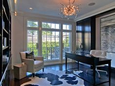 Pricey Pads: Amazing office with glossy black built-ins cabinets, glossy black desk, white leather ...