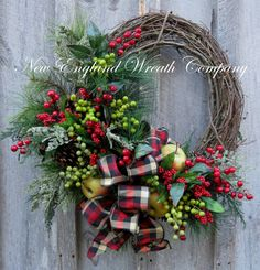 Christmas Wreath, Holiday Wreath, New England Holiday, Williamsburg, Designer Christmas, Woodland Wreath