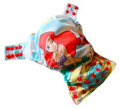 Little Mermaid XS Newborn AIO Cloth Diaper with a Bamboo Organic Cotton soaker pad. $22.00, via Etsy.