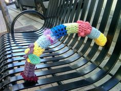 Bench in front of Fuzzy Wuzzy yarns, done by me.