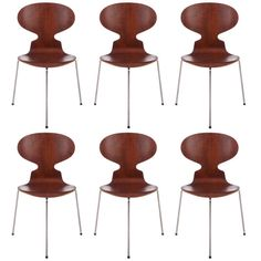 6 Early Arne Jacobsen 3 Legged Ant Chairs | From a unique collection of antique and modern dining room chairs at http://www.1stdibs.com/furniture/seating/dining-room-chairs/