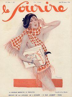 """""""Le Sourire"""" magazine cover, 1930, by Georges Léonnec (1881 – 1940)"""
