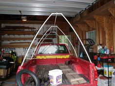 I actually made something similar to this 15 years ago but mine was more arched like the cold frame I posted. I put in a zippered door and roll up and tie windows with screen on the sides. Tent Camping Beds, Camping Diy, Truck Bed Camping, Camping Hacks, Outdoor Camping, Camping Ideas, Camping Heater, Camping Guide, Camping Stuff