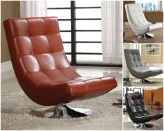 Modern Swivel Lounge Chair Accent Side Faux Leather Living Room Playroom Gaming #Modern