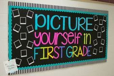 15 Back to School Bulletin Board Ideas You Will Love! Back to School Bulletin Board Ideas! Here are some of my favorite bulletin board ideas I found that are perfect for back to school. Kindergarten Bulletin Boards, Teacher Bulletin Boards, Back To School Bulletin Boards, First Grade Classroom, School Classroom, Classroom Themes, Classroom Door, Future Classroom, Black Bulletin Boards