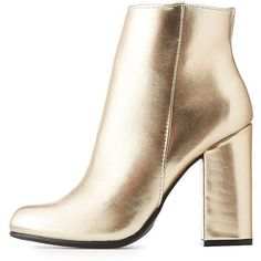 Bamboo Faux Leather Ankle Booties (395 ARS) ❤ liked on Polyvore featuring shoes, boots, ankle booties, booties, cizme, heels, gold, block heel boots, bamboo booties and heeled booties