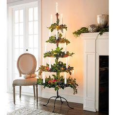 Not only a Christmas tree but could be a every Holiday and/or Season Tree ! Imagine covered with spring flowers and homemade cookies ! Red roses for Valentine Day sprinkled w/shinny wrapped Chocolates around ! ... and on and on with endless possibilities ! Even a serving tray.