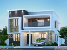 Modern Bungalow House Design, Modern Small House Design, Modern House Facades, Modern Exterior House Designs, Duplex House Design, Modern Architecture House, Amazing Architecture, Chinese Architecture, Indian House Exterior Design
