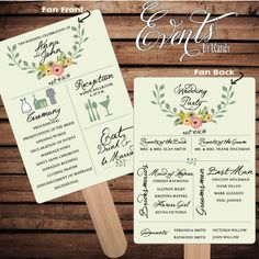 Pre-made Non-Custom Sample for 2 Dollars or Sets of 50 Custom Printed Wedding Program Fans - grey script with olive green leaves and flowers by Eventsbyicandy on Etsy https://www.etsy.com/listing/179956419/pre-made-non-custom-sample-for-2-dollars