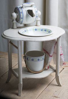 Antique french doll wash dressing table with faience accessories Antique dolls at Respectfulbear.com