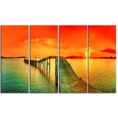 DesignArt Fabulous Sunset Panorama Seascape 4 Piece by Designart Photographic Print on Wrapped Canvas Set