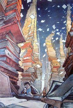 Biblioteca, François Schuiten (Bélgica, 1956).  -