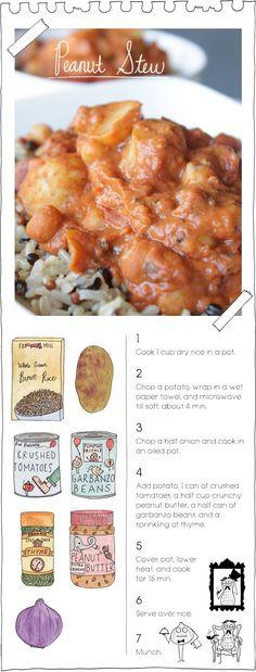 peanut stew from the vegan stoner. love this site, totally simple recipes. Vegan Soups, Vegan Dishes, Vegetarian Recipes, Healthy Recipes, Simple Recipes, Vegan Stoner, Whole Food Recipes, Cooking Recipes, Cooking Ideas