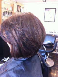 Brunette with Caramel Highlights layered bob with side-swept bang by Erin @Cappella's Studio