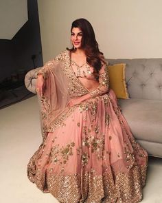 Jacqueline Fernandez Peach Sequins Georgette Party Wear Lehenga Choli With Dupatta Indian Bridal Outfits, Indian Bridal Lehenga, Lehenga Wedding, Golden Bridal Lehenga, Pink Bridal Lehenga, Pakistani Bridal, Bridal Gowns, Designer Party Wear Dresses, Indian Designer Outfits