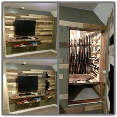 In wall gun safe mirror neat idea for in between the studs