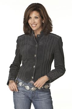 Rusty Spur Couture Cripple Creek Pleated & Studded Snap Front Jacket - LL91861, ,