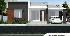 ground floor room details Sitout Porch Living room Dining Kitchen Bedroom with attached bath Master bedroom with attached bath . Single Floor House Design, Modern House Floor Plans, House Gate Design, Bungalow House Design, House Front Design, Small House Design, Dream House Plans, Modern House Design, Door Design