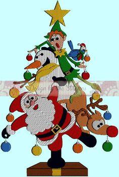 Christmas Tree Santa Elf Reindeer Snowman INSTANT DOWNLOAD Embroidery Design Pattern 3 hoop sizes