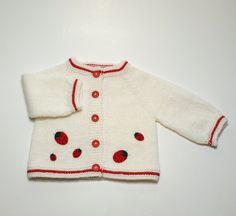 Ladybug jacket knit baby spring jacket white and red by Tuttolv