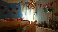 Red -sky blue decor kids room