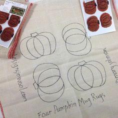 DIY J844 Pumpkin Mug Rugs Rug Hooking Pattern Primitive Rug Hooked Pumpkin Coaster