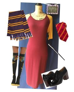 """Harry Potter/Gryffindor LulaRoe costume idea"" by shannon-washington on Polyvore featuring Cufflinks, Inc. and Frye"