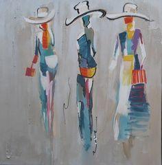 peinture moderne les girls au chapeau