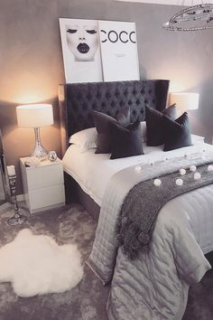 51 Cozy Grey Bedroom Designs With Upholstered/Tufted Headboard T Log Home  Bedroom, Mansion
