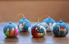 1 Needle Felted Christmas Ornament Hanging by CloudBerryCrafts