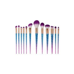 Rainbow Unicorn Makeup brush set in purple 12 pc ($6.76) ❤ liked on Polyvore featuring beauty products, makeup, makeup tools and makeup brushes